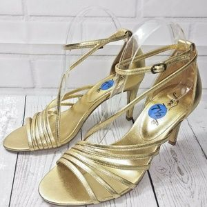 Free People Disco Fever Womens Heels Size 8 Gold